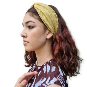 Zara Stunning Textured Stripes Gold Headband with Twist Detail Size US S-M 57cm