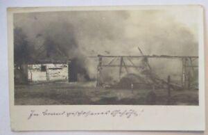 Brennendes Gehöft, Fotokarte Feldpost Fußartillerie Batl.51 nach  Lahr (26841)