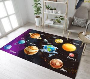 Solar System of Planet Home Kids Play Mat Room Floor Decor Area Rugs Yoga Carpet