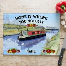 Personalised Narrowboat Canal Boat Cooking Glass Chopping Board Home Gift