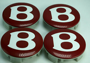 """Genuine Bentley Continental GT Flying Spur Wheel Center Caps Red """"B""""Set"""
