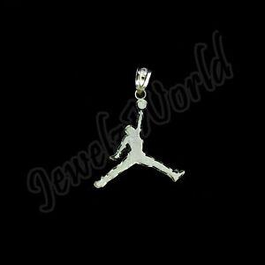 "Real 10K Solid Yellow Gold Michael Jordan Jumpman Charm Pendant 1.25"" inch"