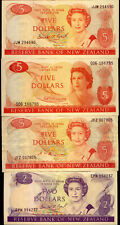 NEW ZEALAND:4 x $5 & $2  BANK NOTES: ALL DIFFERENT VF-UNC  NO  RESERVE !!