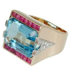 Real 925 Sterling Silver 21.83 Carat Aquamarine & Ruby Stone Unique Women's Ring