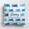 Personalised Motorbike Moto Gp Kids Childrens Cushion Cover Pillow Case& Filling