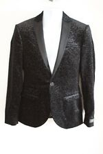 Label Lab Mens Black Leopard Print Velour Skinny Fit Dinner Jacket - Size: 36R