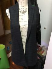 Zara Women Long Suit Navy Blue Vest S-M