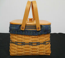 New ListingLongaberger Basket - Collectors Club 1998 - With Lid -Green and Blue Cloth Liner