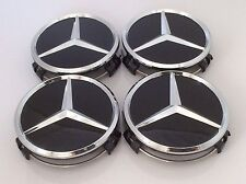 4x MERCEDES BENZ CENTRALE CERCHI IN LEGA CENTER CAPS NERO 75MM A B C E S ML S Class.