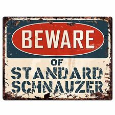 Ppdg0023 Beware of Standard Schnauzer Plate Rustic Chic Sign Decor Gift