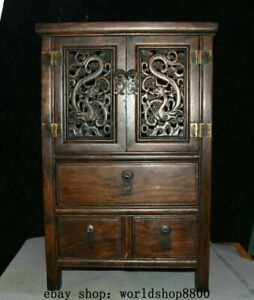 Old Huanghuali Wood Hand Carved Ancient furniture locker cabinet cupboard chest