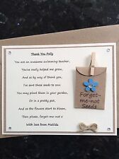 Thank You Swimming Teacher Poem Magnet. Personalised with Forget-me-not Seeds