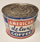 Vintage American Deluxe Coffee Tin Can Red White Blue One Pound Size