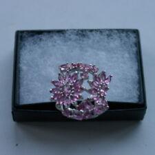 Gorgeous Pink Tourmaline & White CZ Silver Ring 6.3 Gr. Size O12-US 8.0 In Box