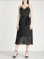 Sandro Womens 38 Medium Trice Lace Detail Midi Dress Black Pleated New $470
