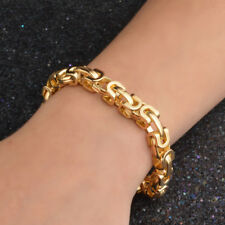 """Mens 18K Yellow Gold Filled Bracelet 9mm 7.7""""Chain Charm GF Fashion Jewelry Gift"""