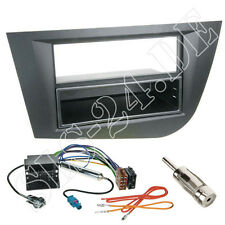 Seat Leon Doppel-DIN Autoradio Radioblende+ FACH ISO Adapterkabel Rahmen schwarz