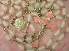 Vintage Catholic Rosary Glass Beads Pink Pearly Crucifix + unique center medal