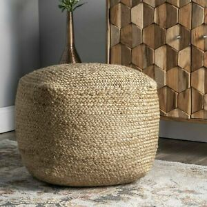 Pouf Cover Natural Jute Braided Home Decor Foot Stool Modern Room Ottoman Cover