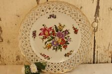 Antique German Plate Dresden Floral Flowers Pierced Reticulated Rim Gold Rim 10""