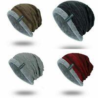 Beanie Cap Slouchy Striped Hat Warm Ribbed Men's Winter Knit Toboggan Soft Work