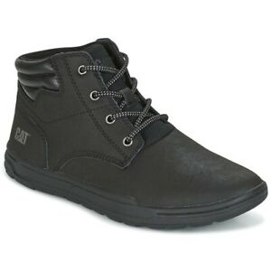 Mens Caterpillar CAT Boots Size 12 Black Leather Lace Up Trainers New RRP £81.99