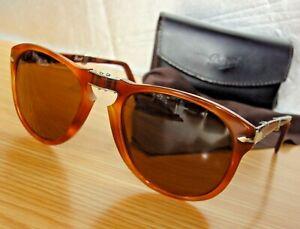 Excell.PERSOL Folding 714 96/33 54-21 140 light Havana/amber lenses+Case+C.Cloth