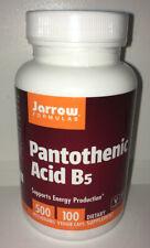 Jarrow Formulas Pantothenic Acid B5, 500 mg 100 Veggie Caps EXP 11/21