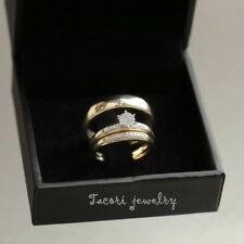 Diamond Wedding 14K Yellow Gold FN Trio His Her Bridal Band Engagement Ring Set