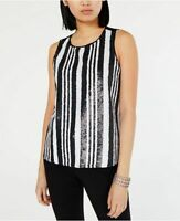 INC Womens Sequin Striped Tank Top Black White XS S L NWT Blouse Shirt