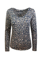 LADIES STUNNING EX FAMOUS STORES GREY MIX TOP T-SHIRT ANIMAL PRINT