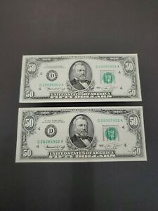 1974 Fifty $50.00 Dollar Federal Reserve Note Crisp UNC 2 Consecutive Sequential