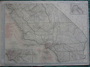 1922 LARGE AMERICA MAP ~ CALIFORNIA LOS ANGELES SAN DIEGO ~ RAND MCNALLY