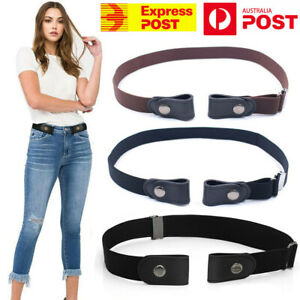 Buckle-Free Waist Belt Jeans Pants Stretch Elastic Waist Women Men No Black