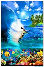 SURF REEF - BLACKLIGHT POSTER - 24X36 FLOCKED OCEAN SURFING TROPICAL 1983