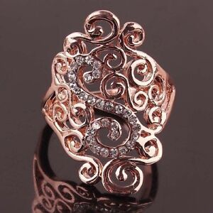 Rose Gold Filled Rhinestone Ornate Filligree Ring