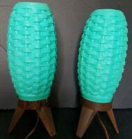 2~Mid Century~MCM~Plastic~Turquoise~Aqua~ Lamps~ Beehive~Weave~Atomic~Tripod♡
