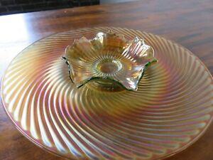 Amber Carnival Glass Bowl + Plate Set