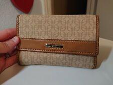 Fossil Khaki Brown Tan Jacquard Mini Trifold Wallet