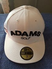Adams New Era 59/50 Fitted Golf Hat Cap Super S Logo Size 7 White/Black