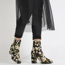 NIB - PUBLIC DESIRE Women's 'CLEO' Floral Black BOOTIES - US 6