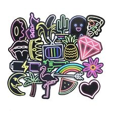 21 pcs Neon Skateboard Stickers Bright Colourful Mixed Phone Stickerbomb Luggage
