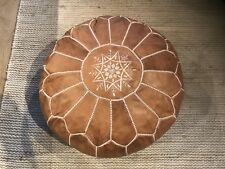 Stunning Moroccan Leather Ottoman Pouffe Pouf Footstool In Rich Tan
