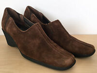 AQUATALIA by Marvin K Brown Suede Leather Square Toe Slip On Wedge Heels Sz 8