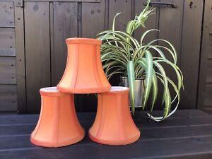 Quality Set of 3 Matching Burnt Orange Raw Silk Clip On Light/Lamp Shades VGC
