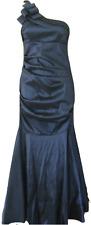 BETSY & ADAM PETROL BLUE ONE SHOULDER PROM DRESS Size 6/Eur 34