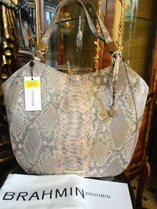 NWT BRAHMIN MARIANNA CHIFFON MARE SNAKE EMBOS LEATHER TOTE HOBO BAG msrp $365
