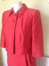 Hobbs 'Nectar Geranium' Dress/jacket Suit Coral Red UK 14 WOOL/SILK