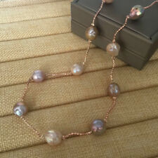 """31.5"""" AA+ 11-12mm natural akoya multicolor Baroque pearl necklace Gold-plated(w"""