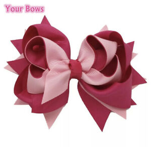 5 inch 100% Ribbon Fashion Bows Boutique Children Hairpins Hair Clips Girl UK